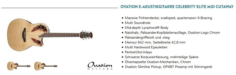 werbung 2016 ovation iv musik zentrum freund. Black Bedroom Furniture Sets. Home Design Ideas